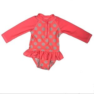 [3/$20]Pink Polka Dot Long Sleeve Baby Swimsuit